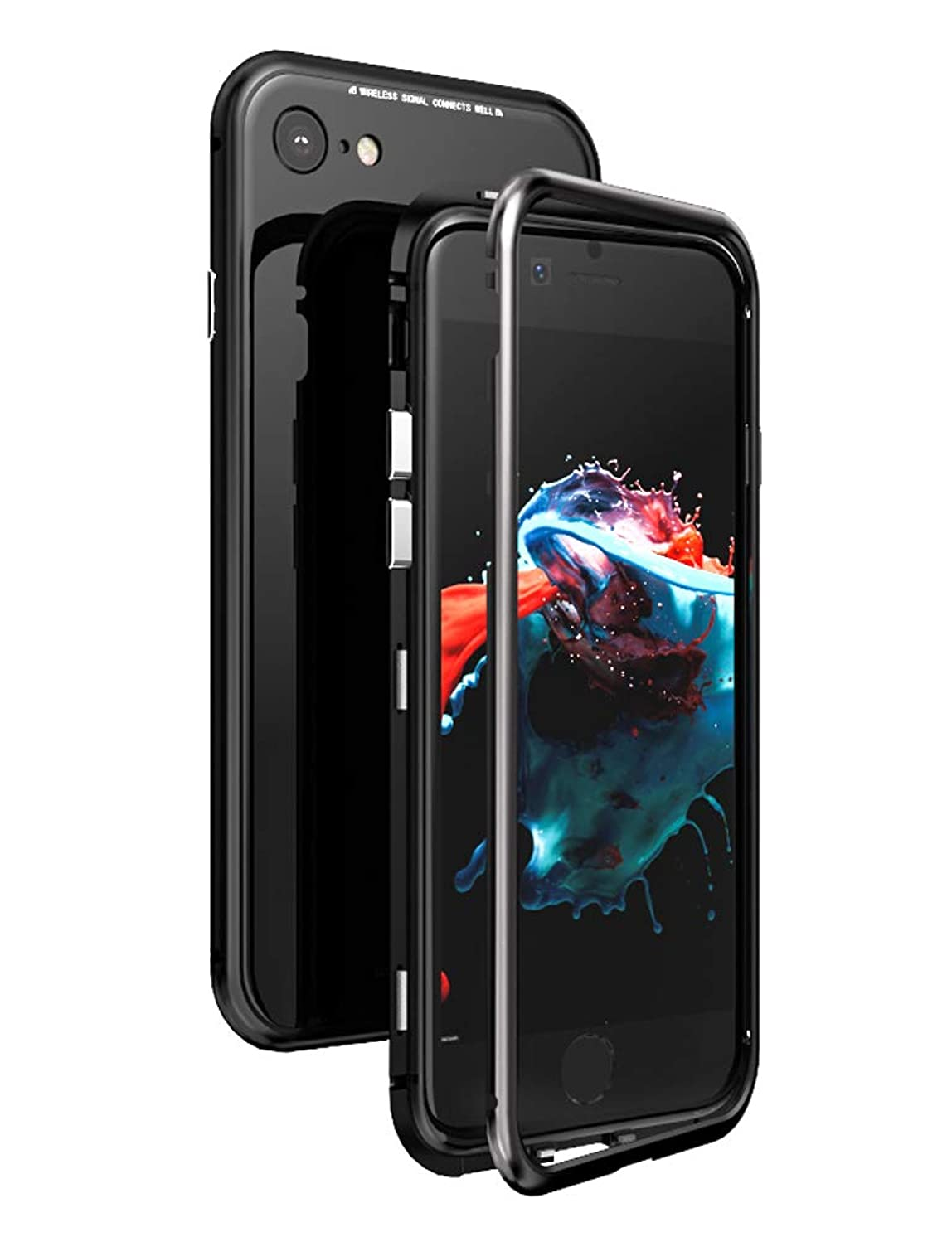 KumWum iPhone 8 Plus Case Metal Bumper Magnetic Adsorption Tempered Glass Back Cover for iPhone 7 Plus (iPhone 8 Plus / 7 Plus, Full Black)