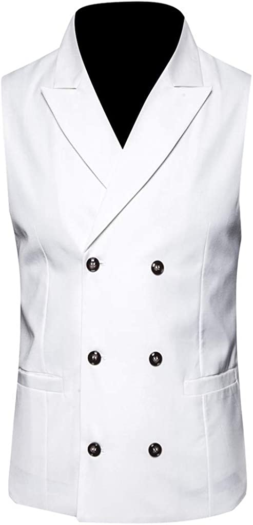 GREFER-Mens Waistcoat Vest Casual Turn-Down Collar Double Breasted Sleeveless Wedding Jacket
