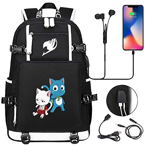 LKKOY Fairy Tail Travel Laptop Backpack Work Backpacks Bag with USB Charging Port for Men Fits Laptop and Notebook Book Bag Anime Movie USB Backpack with Charging Port Black
