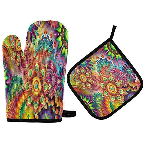 TropicalLife ADMustwin - Juego de guantes de horno y soporte para ollas con diseño de mandala, forro de algodón, resistente al calor, antideslizante, juego de 2 piezas para barbacoa, cocina y hornear
