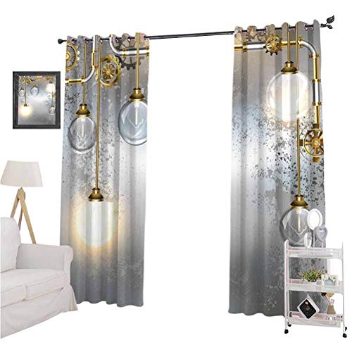 "Industrial Decor best home fashion thermal insulated blackout curtains Steampunk Antique Composition Brass Fastening Round Figures Print Soft Darkening Curtains W84"" x L84""  Gold Grey White"