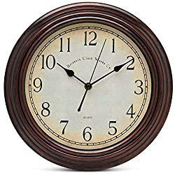 Bernhard Products Vintage Wall Clock Silent Non Ticking - 12 Inch Quality Quartz Battery Operated Decorative Clock for Home/Kitchen/Office/Dining Room/Living Room Decor, Easy to Read, Rustic Bronze