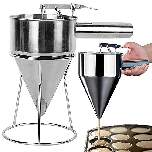 GerTong Embudo para hornear de acero inoxidable, dispensador de batidora de panqueques, estante de ayuda para hacer panqueques, dispensador de magdalenas con mango