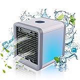 MovilCom® - Mini Enfriador de Aire | 3 en 1 Enfriador de Aire, humidificador, Ventilador portátil USB, Arctic Air, Climatizador Evaporativo, 3 velocidades, 7 Colores para hogar y Oficina