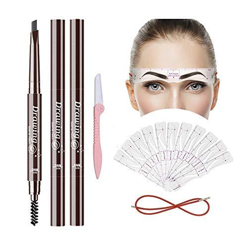 Bummd Eyebrow Pencils and Eyebrow Stencils Kit,2Pcs Waterproof Eyebrow Pens with 12 Style Reusable Eyebrow Template,3 Minutes Makeup Tools for Long-lasting Natural Brows (DARK GREY)