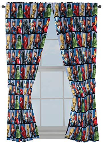 Jay Franco Marvel Avengers Team Vorhänge, 160 cm, 4-teiliges Set – schöne Raumdekoration & einfach aufzubauen – Fenstervorhänge enthalten 2 Bahnen & 2 Raffhalter (offizielles Marvel-Produkt)