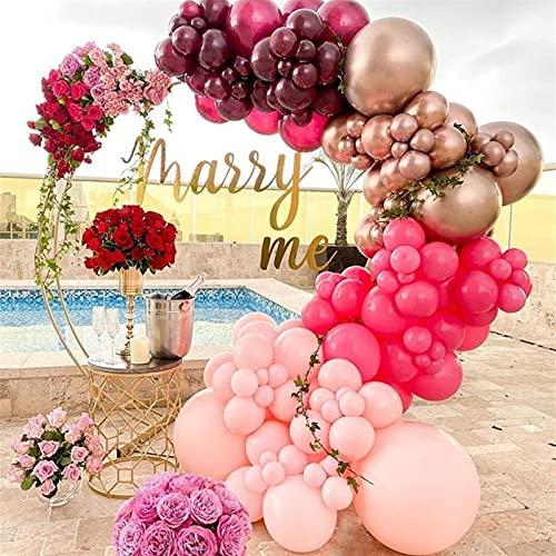 LOUQINGDZ Palloncino 127pcs Oro Rosa Palloncino Bordeaux Vino Rosso Ghirlanda Palloncini Arco Kit Decorazione di Nozze Decorazione di Buon Compleanno Festa Forniture (Color : 127pcs)
