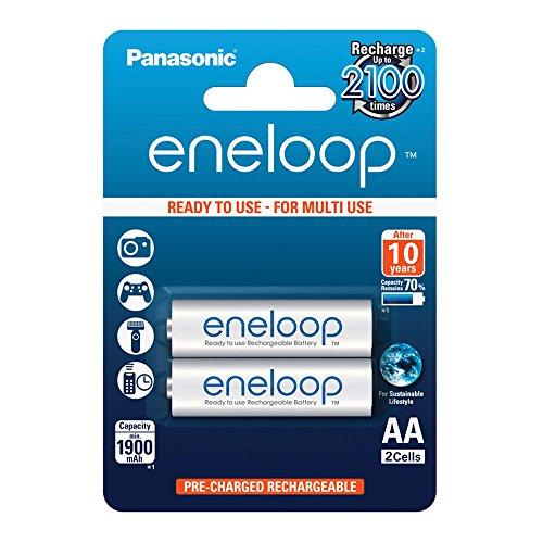 Panasonic eneloop, Ready-to-Use Ni-MH Akku, AA Mignon, 2er Pack, min. 1900 mAh, 2100 Ladezyklen, starke Leistung und geringe Selbstentladung, wiederaufladbare Akku Batterie