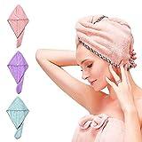Haartuch mikrofaser, 3 Stück Haartuch trocknen schnell, Handtuch für Haare Schnelltrocknend, Haartrockentuchmit Knopf saugfähig Super Absorbent, Schnelltrocknend Handtuch Pink/Grün/Lila