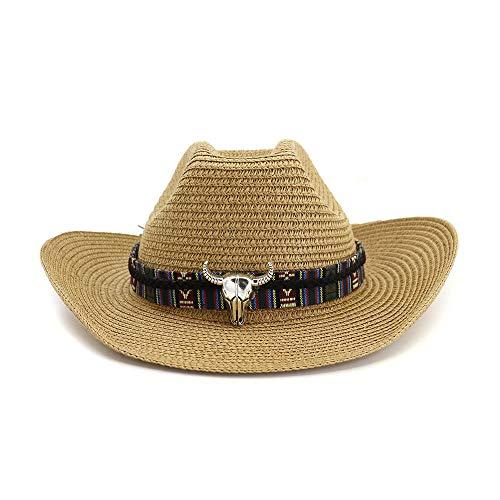 Azly-Caps Chapeaux de Paille naturels Occidentaux Unisexes, Chapeaux de Cow-Boy à Sangle mentonnière avec Taureau et Taureau pour Chapeau de Plage d'été