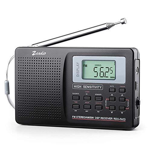 Zeadio Portable AM FM Shortwave Radio, Mini Alarm Clock Radio, with...