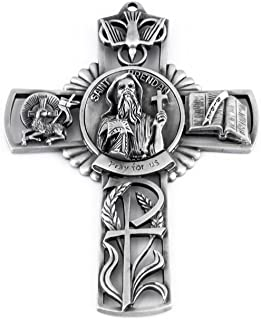 Pewter Catholic Saint St Brendan Pray for Us Wall Cross, 5 Inch