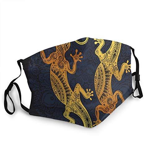 Cubierta para la boca para adulto, antipolvo, diseño de lagartija de lagartija dorada, con bucles ajustables a prueba de viento, para mujeres y hombres