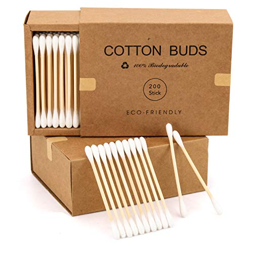 400 Bamboo Cotton Swabs Wooden Cotton Buds, Eco Friendly Cotton Swabs Wood Sticks, Dual Cotton Tipped Applicators Organic Cotton Swabs, Recyclable & Biodegradable Cotton Buds for Ear Cleaning, Makeup