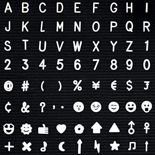 Cizen Pizarra de Letras - 640 Unidades de Plástico Blanco Letras Intercambiables + Números + Símbolos para Fieltro Letter Board