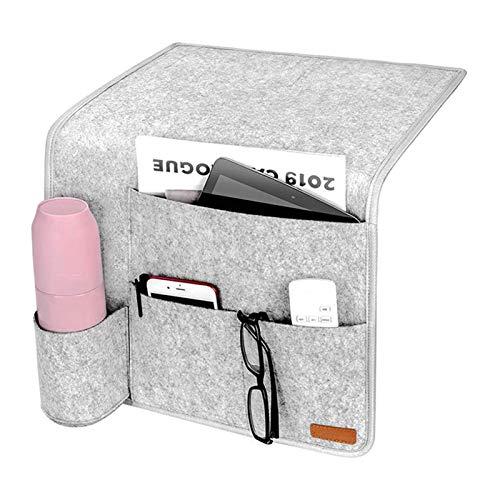 Felt Storage Bag Hanging Pocket Bedside Organizer with Fasten Tape for Remote Control Book Pad