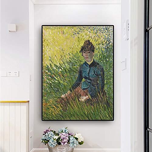 Santangtang beroemde schildersvrouw, die op grasolieschilderij op zeildoek met affiches zit en bedrukt pop-art wandschilderij in frameloze Scandinavische woonkamer