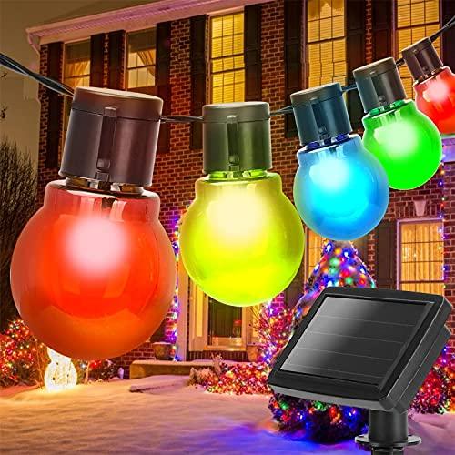 Aigostar - Guirnalda de luz LED solar exterior, 20 bombillas redondas de colores, 5,8 metros, Decoración para exterior con IP44, impermeables. Iluminación LED para decorar fiestas, porches o j