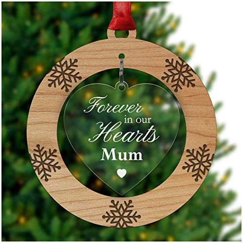 PERSONALISED REMEMBRANCE Tree Decoration THINKING OF YOU AT CHRISTMAS Bauble Couples Gifts Ornament - Cherry Veneer and Acrylic Engraved Christmas Tree Ornament - Keepsake Christmas