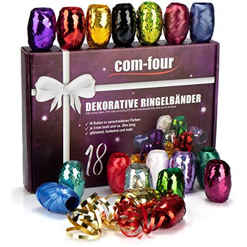 COM-FOUR® 18x glitterlint in felle kleuren - 20 m per rol - hoogwaardige set geschenklinten voor handwerk en verpakking - sprankelend polylint in geschenkverpakking (Feestelijke)