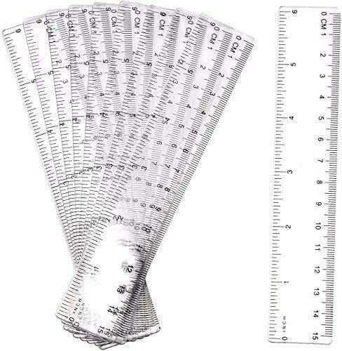 Herramienta de medición de plástico Transparencias de reglas10 piezas Regla de 15 cm Regla de plástico Dispositivo de medición de regla transparente con pulgadas y métrica para la escuela