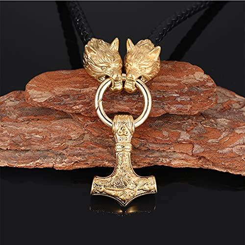 NDYD Collar con Colgante De Martillo De Thor con Cabeza De Lobo Vikingo De Acero Inoxidable Dorado Nórdico Joyería para Hombre,50cm