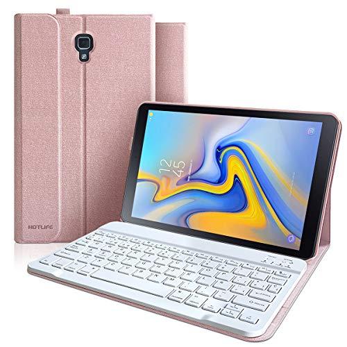 Funda Teclado para Samsung Galaxy Tab A 10.5 2018 SM-T590/T595/T597 [QWERTY Español], Teclado Español Bluetooth Desmontable Incorporado, Cubierta Magnética Delgada con Visión de Multiángulo (Champán)