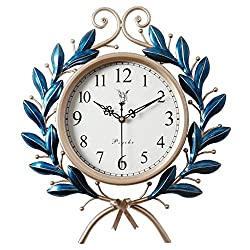 Retro Wall Clock 16 Inch,Silent Not-Ticking Quartz Wall-Mounted Clock Battery Operated Metal Olive Branch Wall Watches B 5650cm