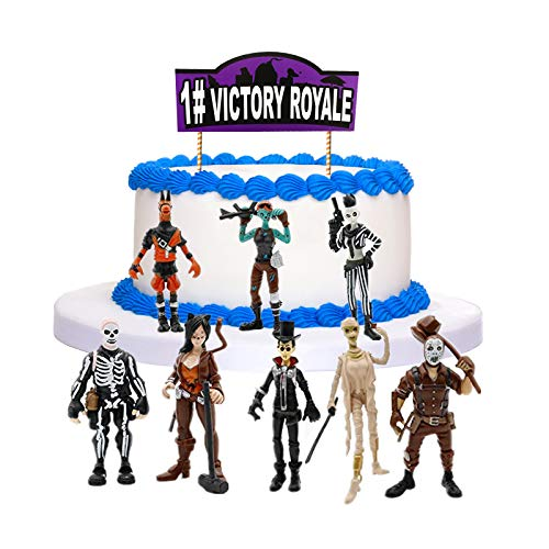 Game Cake Topper Set with 8 Plastic Figure Toys - Happy Birthday Party Supplies for Boys Girls Kids Cake Decorations