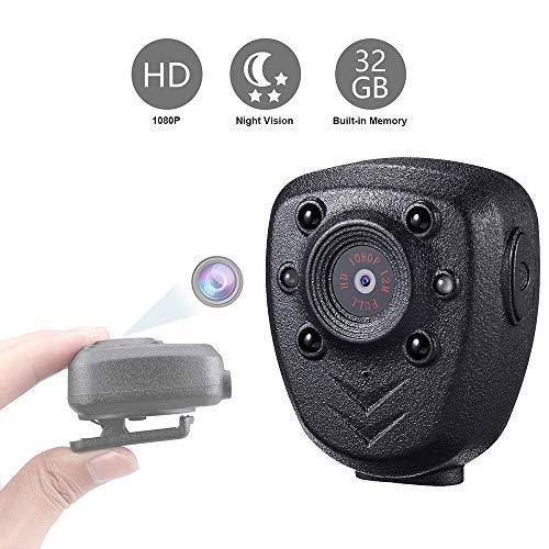 Tragbare am Körper montierte Kamera, drahtloser Mini-Videorecorder DEXILIO 1080P mit Nachtsicht, kleine Kindermädchenkamera für Heim/Büro/Strafverfolgung / (eingebaute 32-GB-Karte)