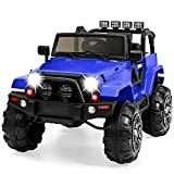 Best Choice Products Kids 12V Ride On Truck, Battery Powered Toy Car w/ Spring Suspension, Remote Control, 3 Speeds, LED Lights, Bluetooth - Blue