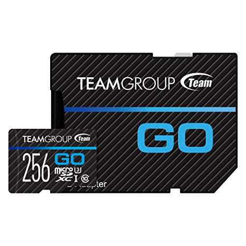 TEAMGROUP GO Card 256GB Micro SD Card for GoPro & Action Cameras, MicroSDXC UHS-I U3 High Speed Flash Memory Card with Adapter for Outdoor, Sports, 4K Shooting TGUSDX256GU303