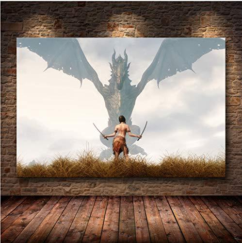 LGXINGLIyidian Skyrim The Elder Scrolls Spiel Poster Und Drucke Wandkunst Dekorative Bild Leinwand Malerei Für Wohnzimmer Home Decor Ungerahmt Ku104 40X50Cm