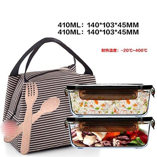 ZLLi Boîte à Lunch Lunchbox Micro-Ondes bac à légumes en Verre isolé boîte à Lunch, Brun 410ML X2