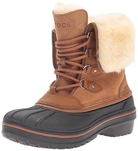 crocs Women's AllCast II Luxe Snow Boot, Wheat, 9 M US