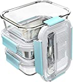GENICOOK Frischhaltedosen aus Glas inkl. Mini Besteck, Meal Prep Boxen, Glasbehälter mit Deckel, Mikrowellengeschirr Glas & Gefrierfach geeignet 1.1Liter*3