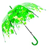 Kung Fu Smith Auto Open Green Leaves Clear Umbrella for Rain, Cute Bubble Dome Rain Umbrella for Boys & Girls