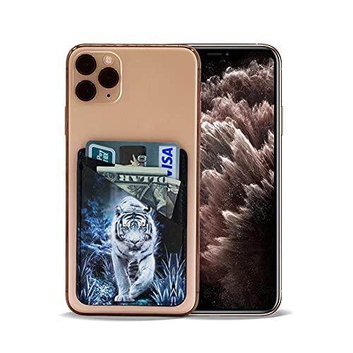 CYAN RAY 타이거 전화 카드 홀더 PU 가죽 지갑 3M 시한 접착제에서 신용 카드 ID 경우 주머니를 위해 다시 아이폰의 안드로이드 스마트폰