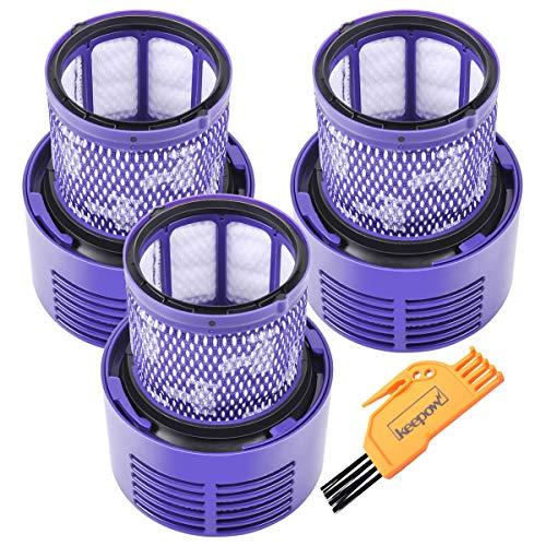 KEEPOW Paquete de 3 filtros de vacío de repuesto para aspiradora inalámbrica Dyson V10 SV12 Cyclone Animal Absolute Aspiradora inalámbrica Comparado con la pieza # 969082-01