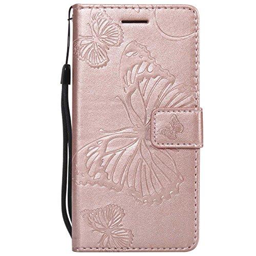 DENDICO Cover Galaxy A3 2016, Pelle Portafoglio Custodia per Samsung Galaxy A3 2016 Custodia a Libro con Funzione di appoggio e Porta Carte di cRossoito - Oro Rosa
