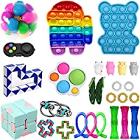Komoo Fidget Toys Pack, Sensory Fidget Toys Push Pop Bubble Fidget Sensory Toy Stress Anxiety Relief Toys Set for ADHD