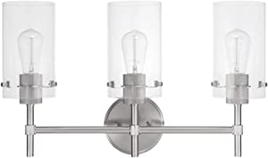 Globe Electric Cusco 3-Light Vanity, Brushed Steel, Clear Glass Shades 51362