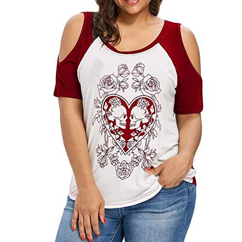 Risaho Damen Rundhals Tops Kurzarm T-Shirts, Sommer Bluse, Liebesdruck Oberteile Shirts Loses Damen Oberteil Damenoberteil mit undichter Schulter