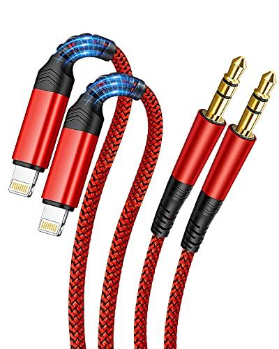 [2 pezzi] Cavo Aux per Auto da per iPhone [Certificato Apple MFi] Cavo Audio Intrecciato da Lightning a jack da 3,5 mm nell'altoparlante Stereo per Auto Compatibile con iPhone 12/11/X/XR/XS/8/8P/7/7P