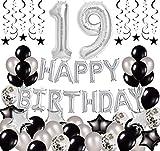 Succris Decoraciones de cumpleaños 19 – Suministros de fiesta para feliz cumpleaños 19th Happy Birthday Banner Gold Faja confeti globos balck colgante remolino