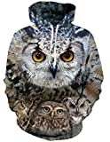 RAISEVERN Sudadera con Capucha 3D Halloween Unisex Sudadera con Capucha Realista 3D Digital Print Sudadera con Capucha y Bolsillos Grandes Bird Pattern Owls