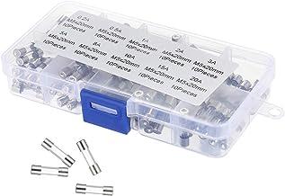 200MM 100 Pi/èces 0.2A ~ 15A Assortiment Kit Fast Lighting Classification De S/écurit/é Fusible En Verre/ 50