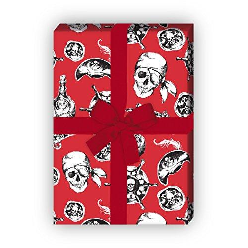 Kartenkaufrausch Cooles Piraten Geschenkpapier Set 4 Bogen, Dekorpapier mit Totenkopf und Co, rot, für tolle Geschenkverpackung, Musterpapier zum basteln 32 x 48cm