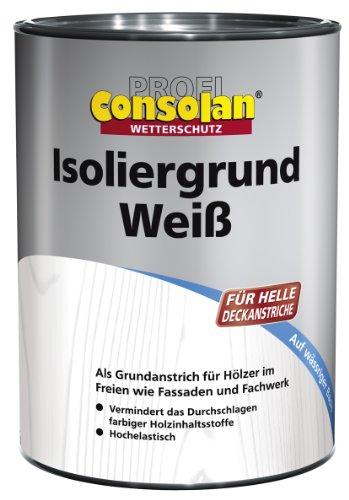 Consolan Profi Isoliergrund Holzgrundierung Wetterschutz außen 2,5 Liter, Weiss