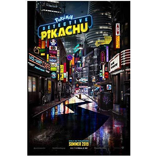 HJZBJZ Pokemon Detective Pikachu película Ryan Reynolds póster imágenes Lienzo Impresiones Arte de Pared para decoración del hogar regalo-20X30 Pulgadas sin Marco
